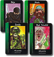 Image of character type cards from Zombie Ninja Pirate game.