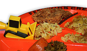 An image of the Constructive Eating Plate with full lot of food