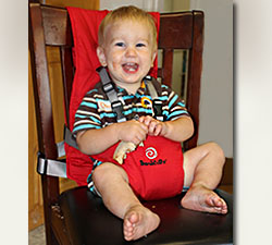 Image of a consumer's child participating in the evaluation of the  BambinOz PortaChair.