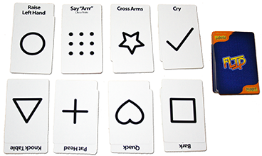 Layout of the cards in play for the game Befuzzled.