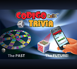 An image of the Codigo Cube trivia game promotional ad for Toy Fair 2013.