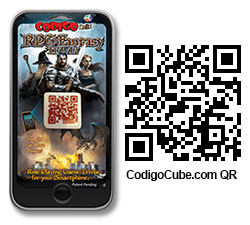 An image of one of the Codigo Cube games with QR code for www.codigocube.com.