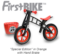 An image of the FirstBIKE� Special Edition in Orange with hand brake.