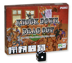 Image of the Knock Down, Drag Out card game box front and back.
