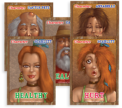 Some of the characters from Knock Down, Drag Out card game in healthy and hurt conditions.