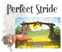A collage image of the Finish Line card, the Perfect Stride box, and a horse figure rushing to the finish line..