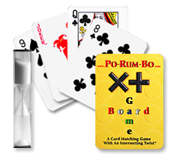 Image of the Po-Rum-Bo hourglass timer and some of the game cards.