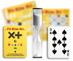 Po-Rum-Bo hourglass timer, two game vards, and game box.
