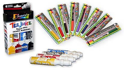 Example of the TeeJuice Fabric Markers used on a T-shirt.