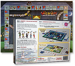 Image of the rear of the Wizarday game box with one of the game boards behind it.